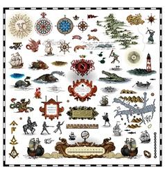 antique map elements vector image