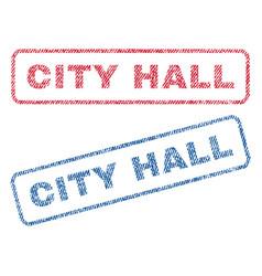 city hall textile stamps vector image vector image