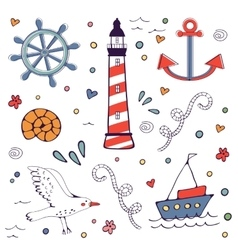 Colorfil sea doodles vector image