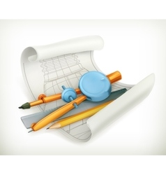 Compass ruler and pencil vector image vector image