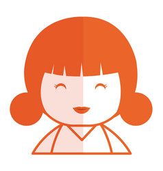 cute little japanese doll vector image vector image