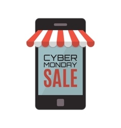 Cyber monday sale mobile phone isolated on white vector