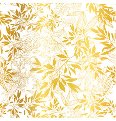 golden leaves and branches repeat seamless vector image