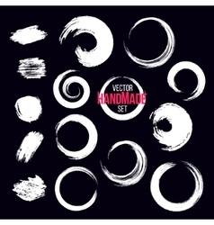 Grunge circle brush strokes set Hand made vector image