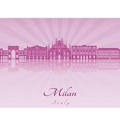 Milan skyline in purple radiant orchid vector image vector image