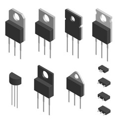 set of different transistors in 3d vector image vector image