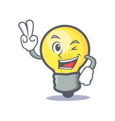 two finger light bulb character cartoon vector image