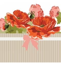 Vintage Watercolor poppy flowers card vector image