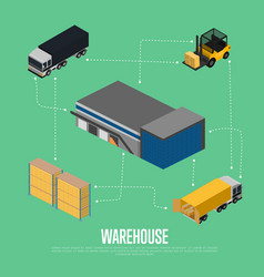 warehouse isometric concept with storage building vector image