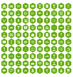 100 business icons hexagon green vector