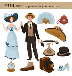 1910 fashion style man and woman personal objects vector