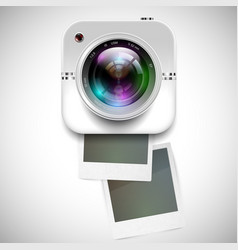 A camera icon with blank photographs vector