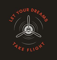 Adventure logo emblem with airplane propeller vector