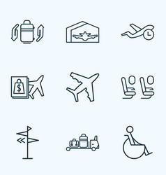 airport icons line style set with flight time vector image
