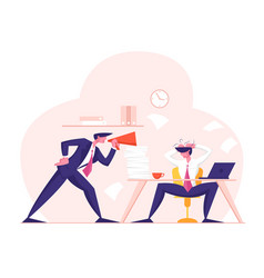 Angry furious boss character yelling to megaphone vector