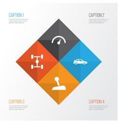 Auto icons set collection of wheelbase vector