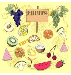 Background with fruit1-07 vector image