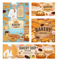 baker baking bread bakery shop dessert cakes vector image
