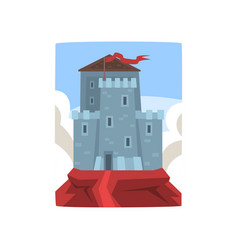 big medieval castle on top of mountain on blue sky vector image