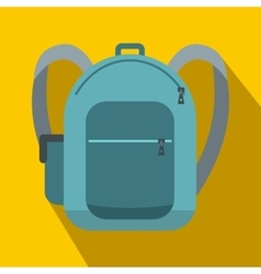 Blue school bag icon flat style vector