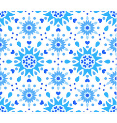 blue white flower and hearts pattern vector image