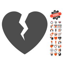 broken heart icon with dating bonus vector image