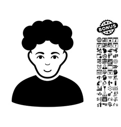 Brunet Man Flat Icon With Bonus vector