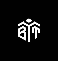 Bt monogram logo with abstract hexagon style vector