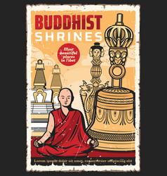 Buddhist tibetan temple buddism religion bell vector