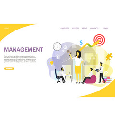 business management landing page website vector image