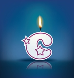 Candle letter c with flame vector image