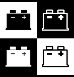 Car battery sign black and white icons vector
