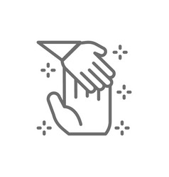 child hand holds palm man donation to children vector image