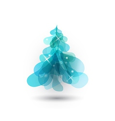 Christmas tree with blurred lights on white vector