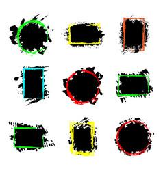 Collection black paint splash texture vector