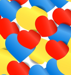 Colorful paper hearts seamless background vector image