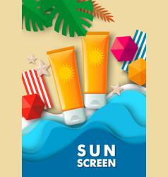 cosmetic tube mockups paper cut tropical beach vector image