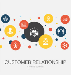 Customer relationship trendy circle template with vector