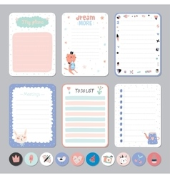 Cute Calendar Daily and Weekly Planner vector image