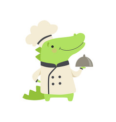 Cute crocodile in chef uniform holding silver vector