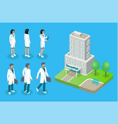 doctors and hospital house isolated on 3d poster vector image