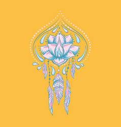 doodle style hand drawn ornamental lotus vector image