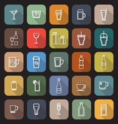 Drink line flat icons with long shadow vector