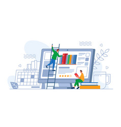 e-learning online library man choosing e-book vector image