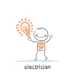 Electricians holding a light bulb vector