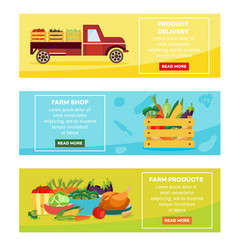 Farmer products delivery banners set vector
