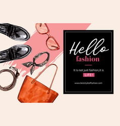Fashion frame design with bag shoes sunglasses vector