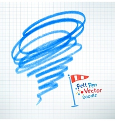 Felt pen childlike drawing of hurricane vector image