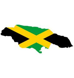 Flag in map jamaica vector