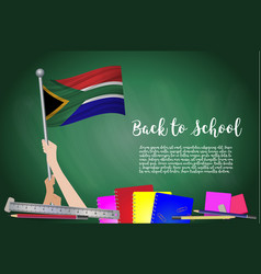 Flag of south african on black chalkboard vector